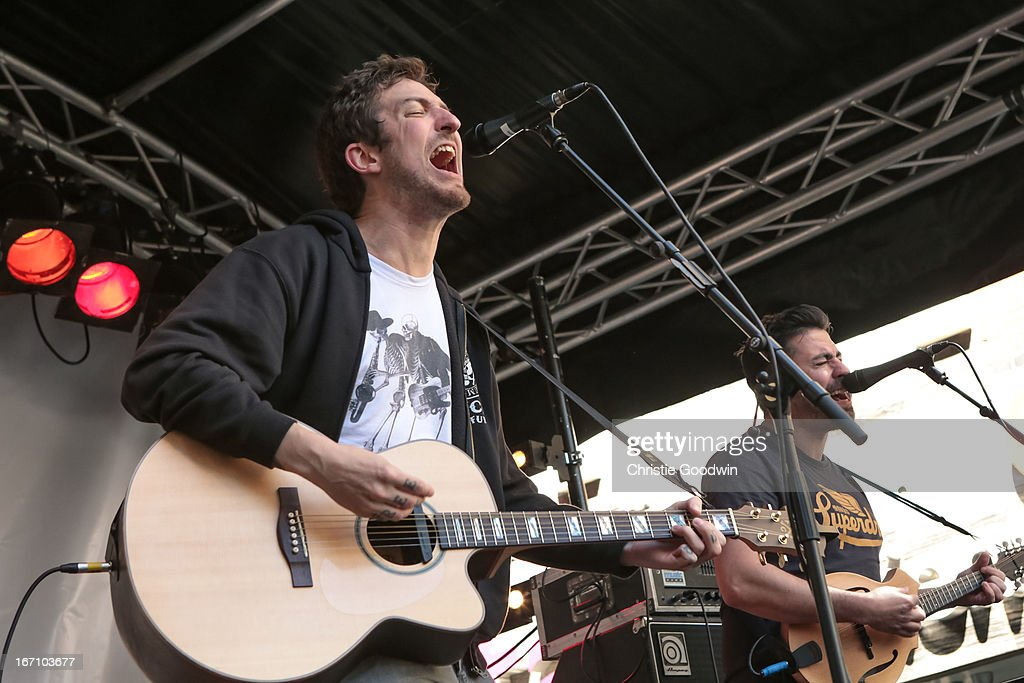Frank Turner performs on stage as part of Record Store Celebrations on Berwick Street on April 20 2013 in London England
