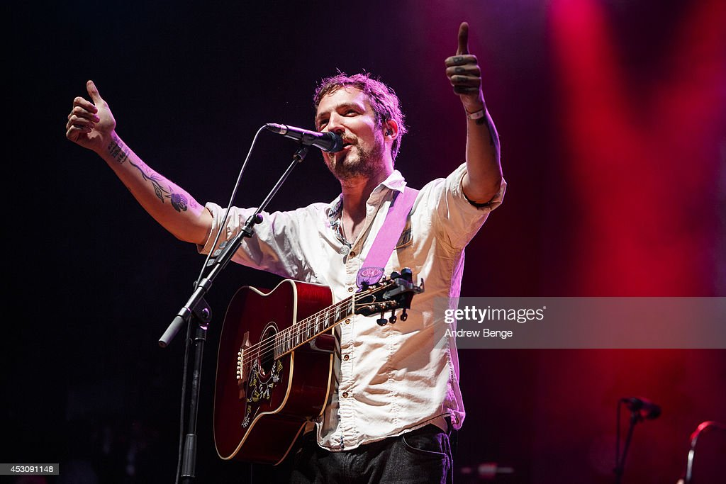 Frank Turner performs on stage at Kendal Calling Festival at Lowther Deer Park on August 2 2014 in Kendal United Kingdom