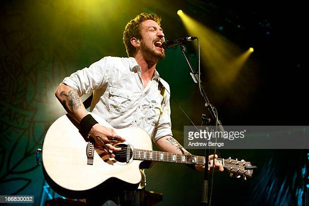 Frank Turner performs on stage at Manchester Academy on April 17 2013 in Manchester England