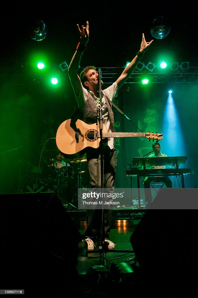 Frank Turner performs on stage at O2 Academy on August 6 2011 in Newcastle upon Tyne England