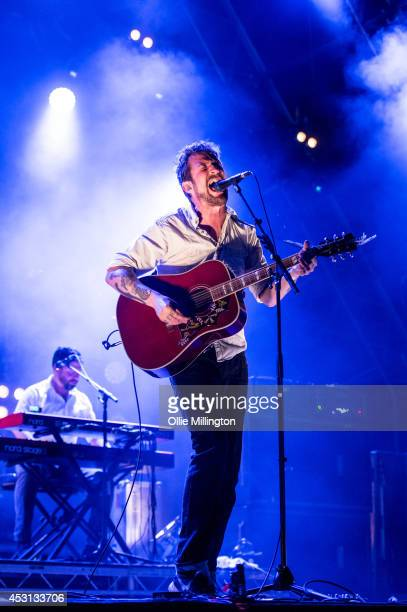 Frank Turner performs on the main stage headlining at the end of day 3 at Y Not Festival at Pikehall on August 3 2014 in Matlock United Kingdom