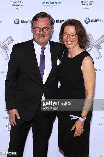 Frank Ulrich Montgomery and his wife attend the Felix Burda Award 2014 at Hotel Adlon on April 6 2014 in Berlin Germany