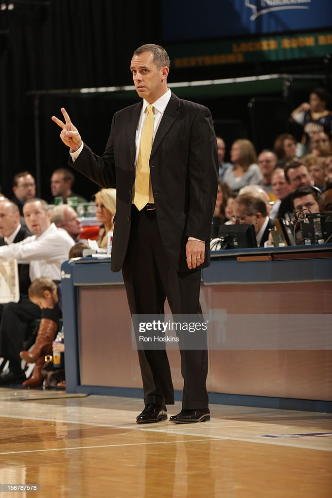 Frank Vogel Head Coach of the Indiana Pacers calls a play against the Phoenix Suns on December 28, 2012 at Bankers Life Fieldhouse in Indianapolis, Indiana.
