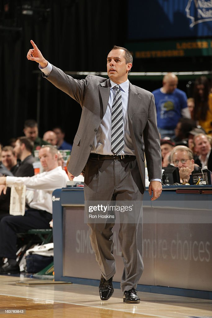 Frank Vogel, Head Coach of the Indiana Pacers, directs his team during the game against the Los Angeles Lakers on March 15, 2013 at Bankers Life Fieldhouse in Indianapolis, Indiana.