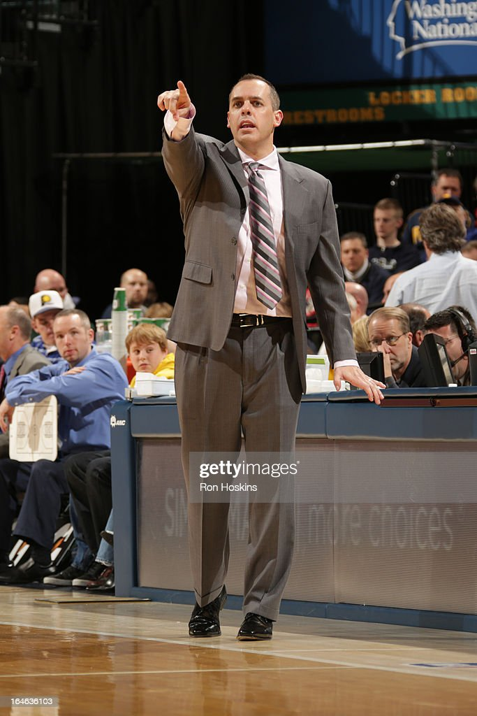 Frank Vogel, Head Coach of the Indiana Pacers, directs his team during the game against the Atlanta Hawks on March 25, 2013 at Bankers Life Fieldhouse in Indianapolis, Indiana.