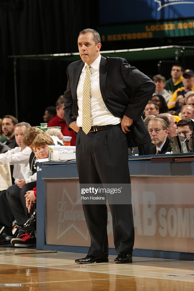 Frank Vogel, Head Coach of the Indiana Pacers, looks on during the game against the Detroit Pistons on January 30, 2013 at Bankers Life Fieldhouse in Indianapolis, Indiana.