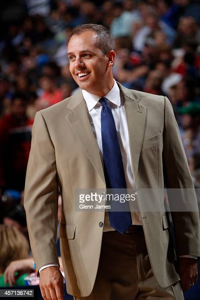 Frank Vogel head coach of the Indiana Pacers smiles during a game against the Dallas Mavericks on October 12 2014 at the American Airlines Center in...