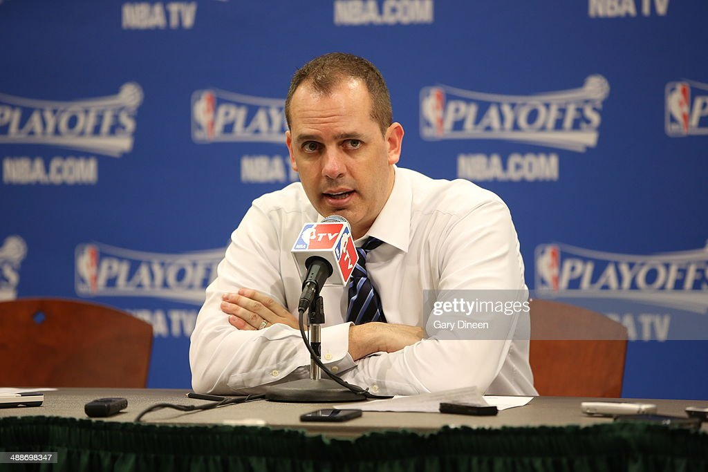 Frank Vogel Head Coach of the Indiana Pacers speaks to the media after a game against the Washington Wizards in Game Two of the Eastern Conference Semifinals of the 2014 NBA playoffs on May 7, 2014 at Bankers Life Fieldhouse in Indianapolis, Indiana.