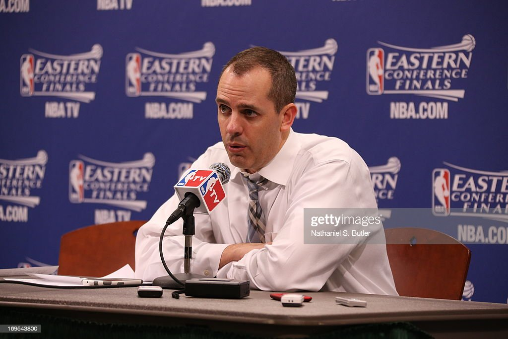 Frank Vogel Head Coach of the Indiana Pacers speaks with the media after Game Three of the Eastern Conference Finals during the 2013 NBA Playoffs on May 26, 2013 at Bankers Life Fieldhouse in Indianapolis, Indiana.