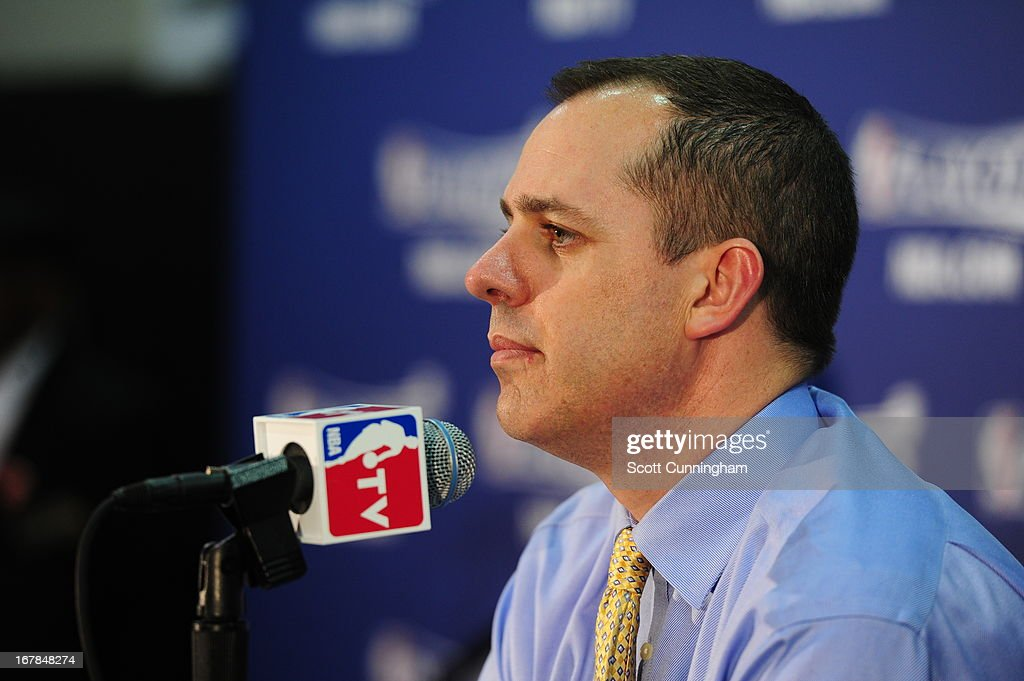 Frank Vogel of the Indiana Pacers answers questions during his post game press conference after the game against the Atlanta Hawks during Game Four of the Eastern Conference Quarterfinals in the 2013 NBA Playoffs on April 29, 2013 at Philips Arena in Atlanta, Georgia.