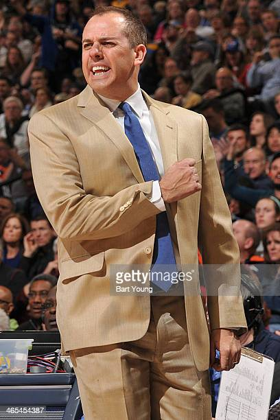 Frank Vogel of the Indiana Pacers coaches against the Denver Nuggets on January 25 2014 at the Pepsi Center in Denver Colorado NOTE TO USER User...