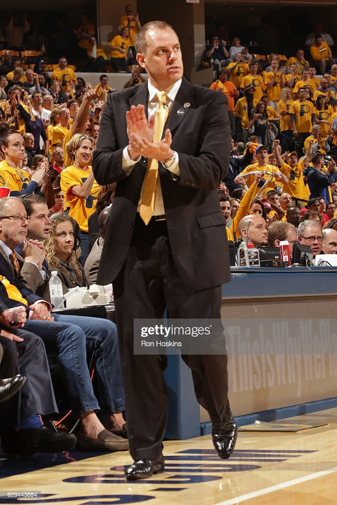 Frank Vogel of the Indiana Pacers coaches against the Toronto Raptors in Game Three of the Eastern Conference Quarterfinals during the 2016 NBA...