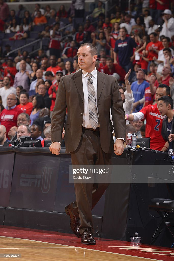 Frank Vogel of the Indiana Pacers coaches against the Washington Wizards during Game Three of the Eastern Conference Semifinals on May 9, 2014 in Washington, DC.