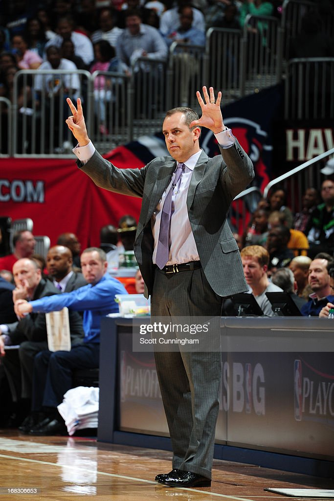 Frank Vogel of the Indiana Pacers during the game against the Atlanta Hawks in Game Three of the Eastern Conference Quarterfinals in the 2013 NBA Playoffs on April 27, 2013 at Philips Arena in Atlanta, Georgia.