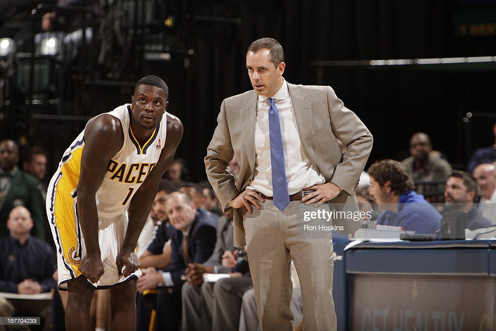 Frank Vogel of the Indiana Pacers talks with Lance Stephenson #1 of the Indiana Pacers during the game against the Portland Trail Blazers on December 5, 2012 at Bankers Life Fieldhouse in Indianapolis, Indiana.