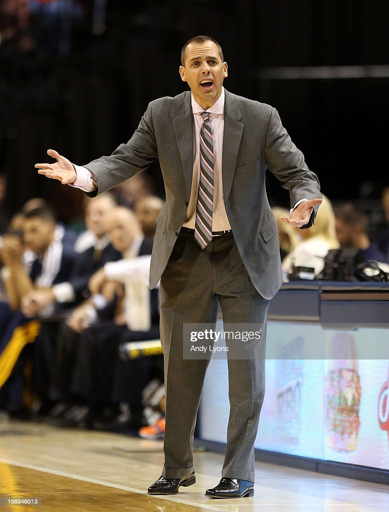 Frank Vogel the head coach of the Indiana Pacers gives instructions to his team during the NBA game against the Toronto Raptors at Bankers Life Fieldhouse on November 13, 2012 in Indianapolis, Indiana.