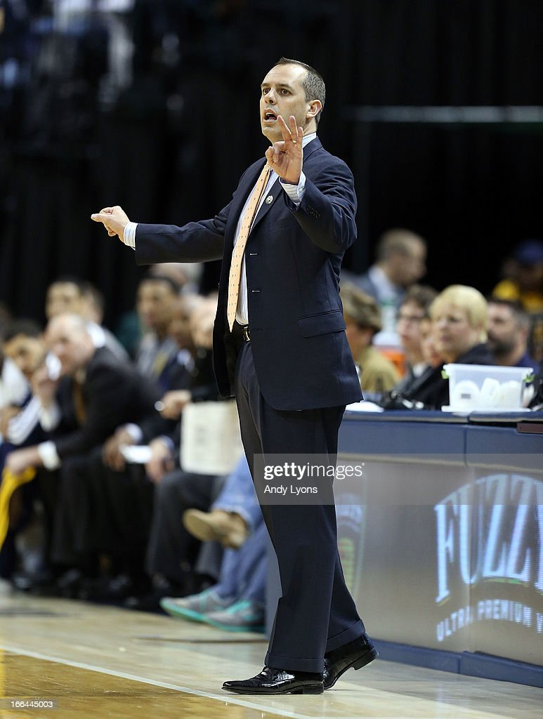 Frank Vogel the head coach of the Indiana Pacers gives instructions to his team during the game against the Brooklyn Nets at Bankers Life Fieldhouse on April 12, 2013 in Indianapolis, Indiana.