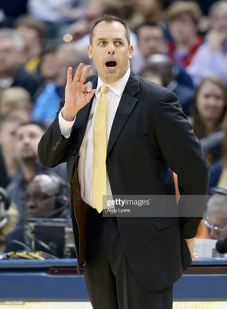 Frank Vogel the head coach of the Indiana Pacers gives instructions to his team during the game against the Golden State Warriors at Bankers Life...