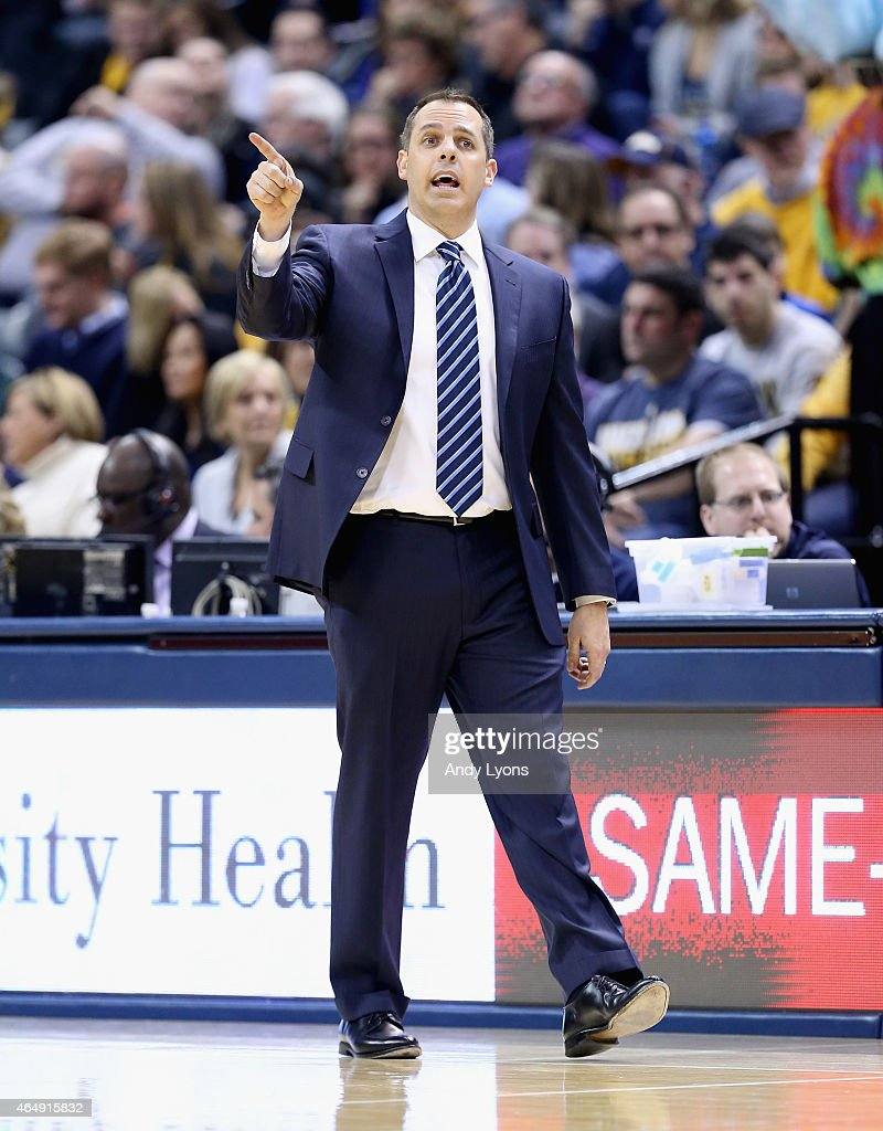 Frank Vogel the head coach of the Indiana Pacers gives instructions to his team during the game against the Philadelphia 76ers at Bankers Life...