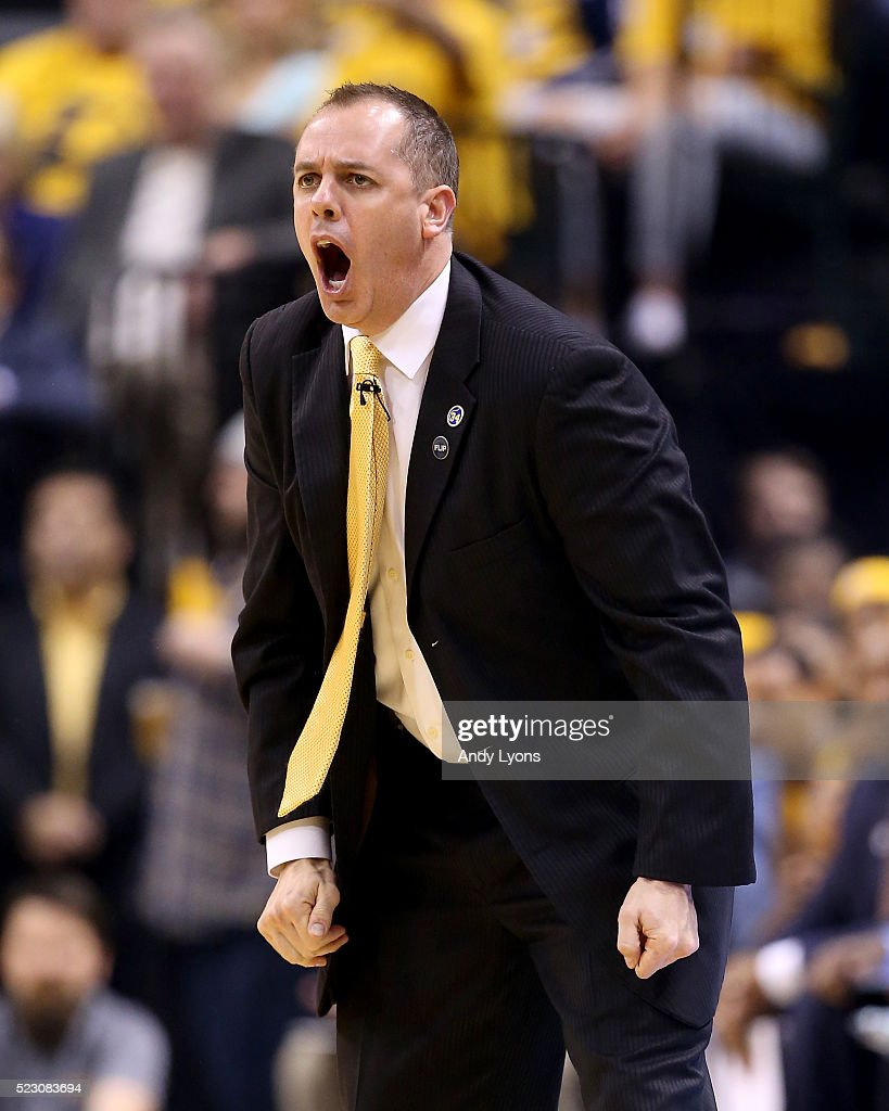 Frank Vogel the head coach of the Indiana Pacers gives instructions to his team against the Toronto Raptors during game three of the 2016 NBA Eastern...