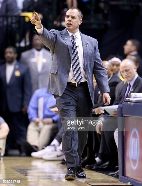 Frank Vogel the head coach of the Indiana Pacers gives instructions to his team against the Toronto Raptors during game four of the 2016 NBA Eastern...