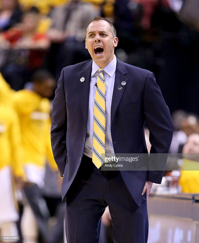Frank Vogel the head coach of the Indiana Pacers gives instructions to his team against the Toronto Raptors in game six of the 2016 NBA Playoffs...