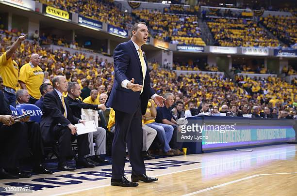 Frank Vogel the head coach of the the Indiana Pacers disagrees with an officals call in the game against the Atlanta Hawks in Game 1 of the Eastern...