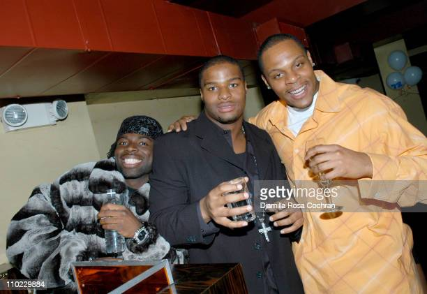 Frank Walker Osi Umenyiora and Visanthe Shiancoe during Osi Umenyiora's Birthday Party at Romi in New York City New York United States