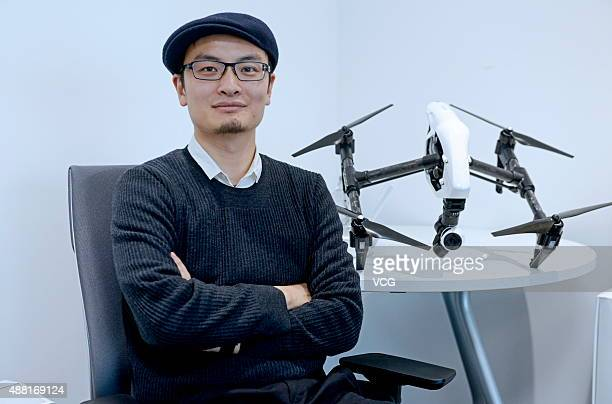 Frank Wang founder of DJI with new product Inspire 1 at DJI on February 12 2015 in Shenzhen China DJI is a Chinese technology company manufacturing...