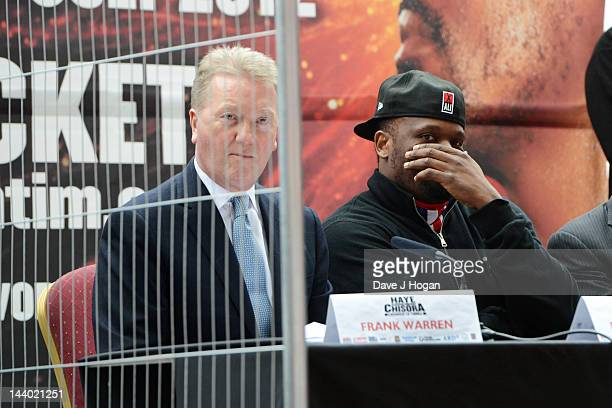 Frank Warren and Dereck Chisora pose as Frank Warren announces a fight between David Haye Vs Dereck Chisora to be held on the 14th July at West Ham...