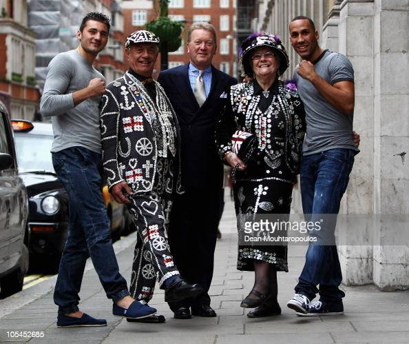 Frank Warren poses with his fighters Nathan Cleverly and James DeGale and the Pearly King and Queen prior to the Frank Warren Press Conference at the...
