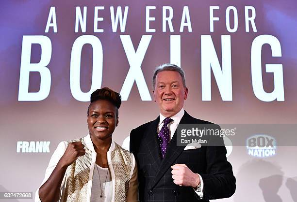 Frank Warren speaks and Nicola Adams pose for photos during a Frank Warren Press Conference at the BT Tower on January 23 2017 in London England
