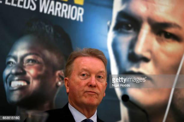 Frank Warren speaks to media during a Press Conference at the Aspire hotel on March 15 2017 in Leeds England Josh Warrington will fight Kiko Martinez...