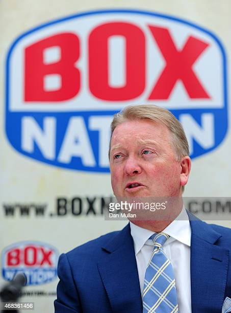 Frank Warren talks to the media during a press conference at Fredericks Restaurant on April 2 2015 in London England