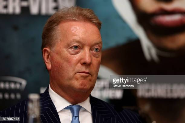 Frank Warren talks to the media during the Canelo Alvarez vs Gennady Golovkin boxing press conference at The Landmark Hotel on June 19 2017 in London...