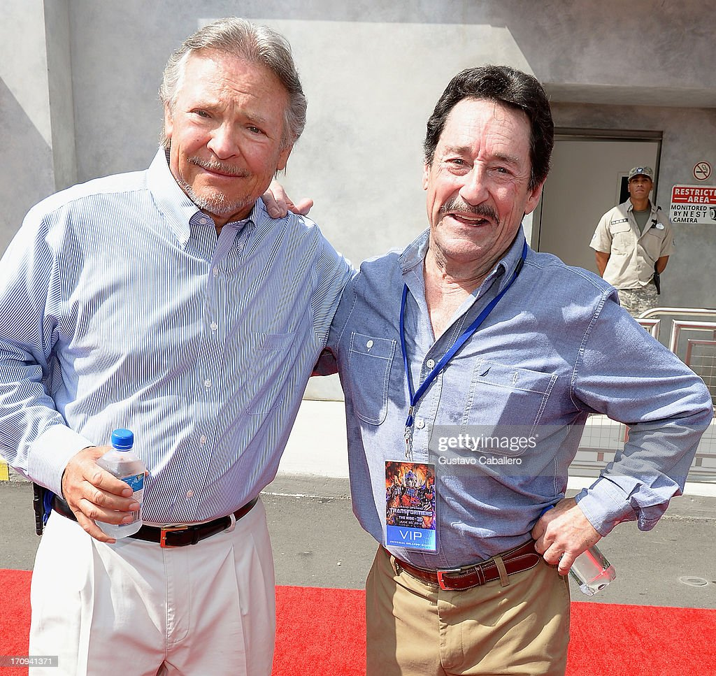 Frank Welker (L) and Peter Cullen attend Transformers The Ride - 3D Grand Opening Celebration at Universal Orlando on June 20, 2013 in Orlando, Florida.
