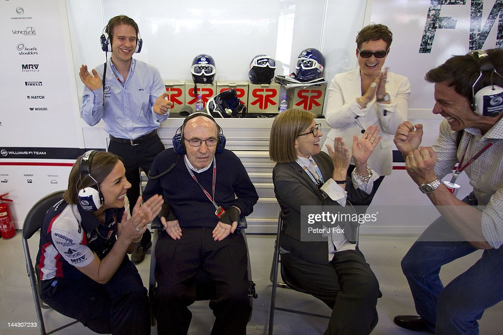 Frank Williams Of Great Britain and Williams celebrates winning with his daughter Claire Williams and his wife Ginny Williams during the Spanish Formula One Grand Prix at the Circuit de Catalunya on May 13, 2012 in Barcelona, Spain.