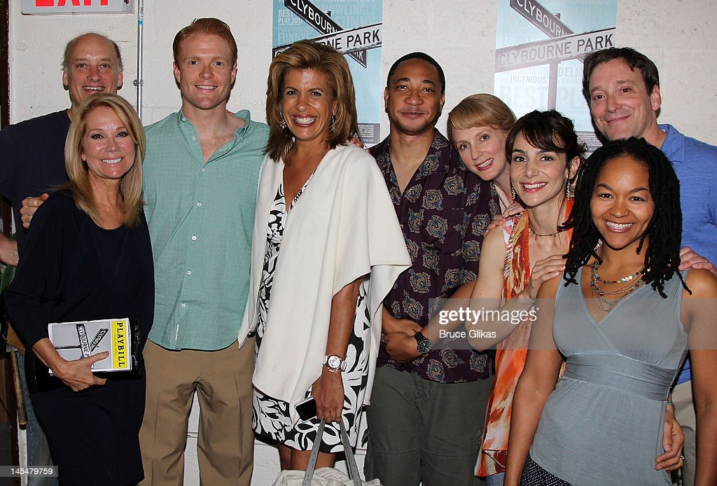 Frank Wood, Kathie Lee Gifford, Brendan Griffin, Hoda Kotb, Damon Gupton, Christina Kirk, Annie Parisse, Jeremy Shamos and Crystal A. Dickinson pose backstage at the hit play 'Clybourne Park' on Broadway at The Walter Kerr Theater on May 30, 2012 in New York City.