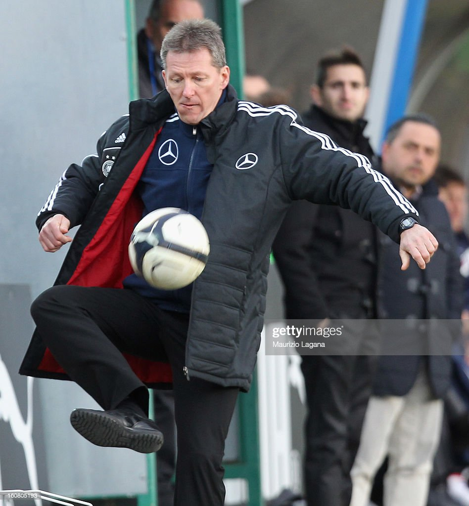 Frank Wormuth head coach Germany kicks the ball during U20 International Friendly match between Italy and Germany at Stadio Cosimo Puttilli on February 6, 2013 in Barletta, Italy.