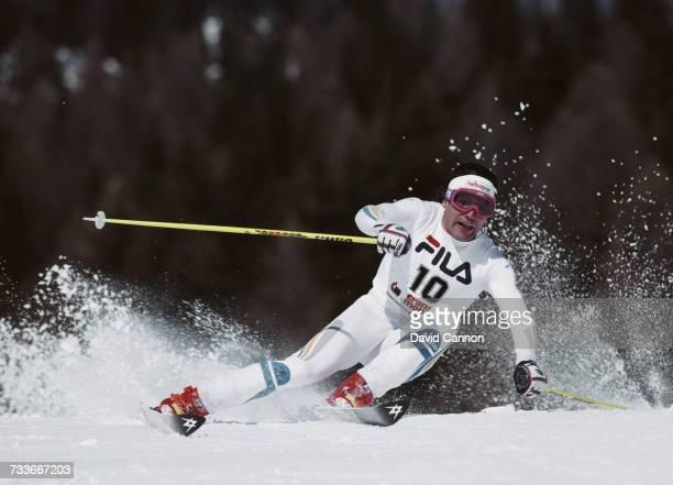 Frank Worndl of Germany during the International Ski Federation Men's Giant Slalom at the FIS Alpine World Ski Championship on 4 February 1987 in...