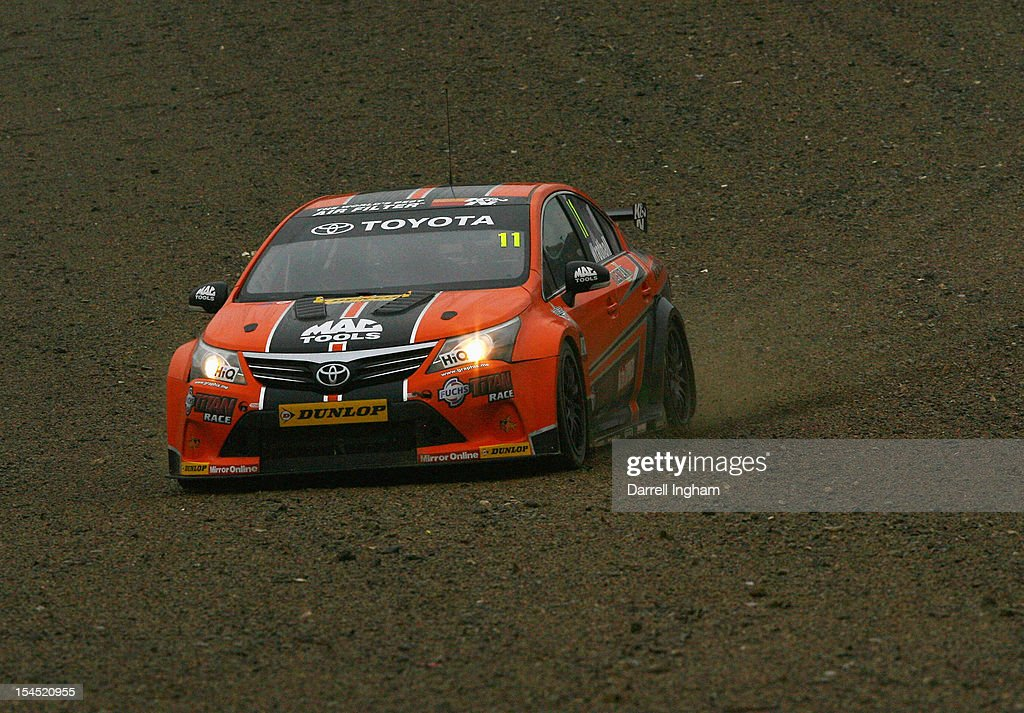 Frank Wrathall of Great Britain drives the #11 Dynojet Vauxhall Vectra out of the gravel during the Dunlop MSA British Touring Car Championship race at the Brands Hatch Circuit on October 21, 2012 near Longfield, United Kingdom.