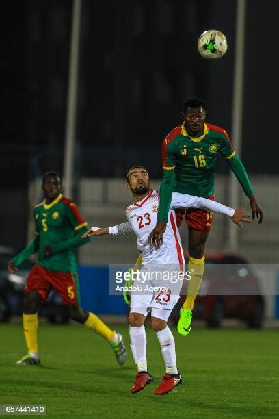 Frank Zambo of Cameroon in action against Naim Sliti of Tunisia during the friendly football match between Tunisia and Cameroon at the Ben Jannet...