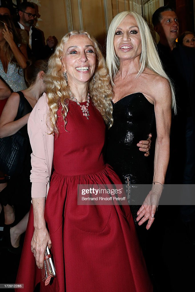 Franka sozzani and Donnatella Versace backstage at Versace show as part of Paris Fashion Week Haute-Couture Fall/Winter 2013-2014 at on June 30, 2013 in Paris, France.