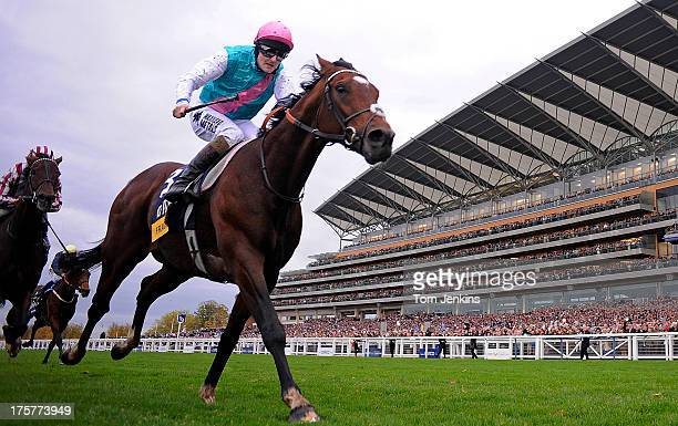 Frankel ridden by Tom Queally goes clear in the final furlong of the Champions Stakes to win his fourteenth and final race during the Qipco Champions...