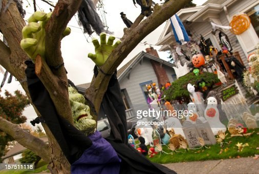 Frankenstein and other Halloween decorations