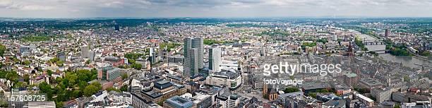 Luftbild panorama der Stadt Frankfurt Borse Zeil Romerburg Main, Deutschland