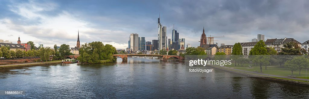 Frankfurt am Main central riverside cityscape panorama Germany