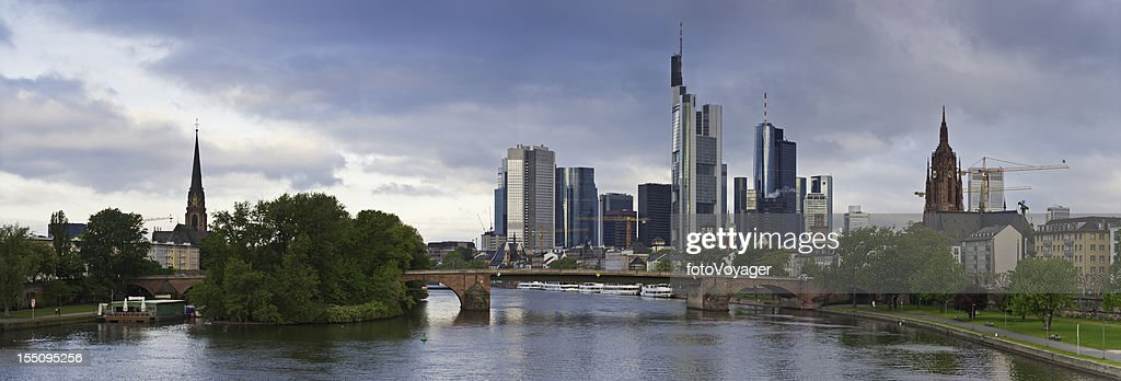Frankfurt am Main downtown skyscrapers riverside panorama Germany : Stock Photo