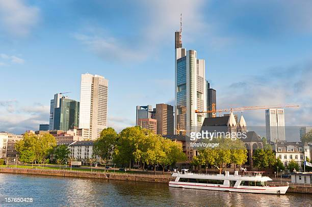Frankfurt banks and boats downtown skyscrapers sunrise River Main Germany