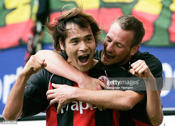 Frankfurt celebrate their third goal by Naohiro Takahara during the Bundesliga match between Eintracht Frankfurt and Alemannia Aachen at the...
